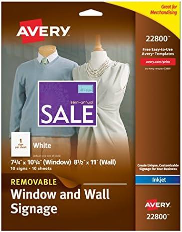 """Avery window decals 53212, inkjet, clear, 8-1/2""""x 11"""", inkjet."""