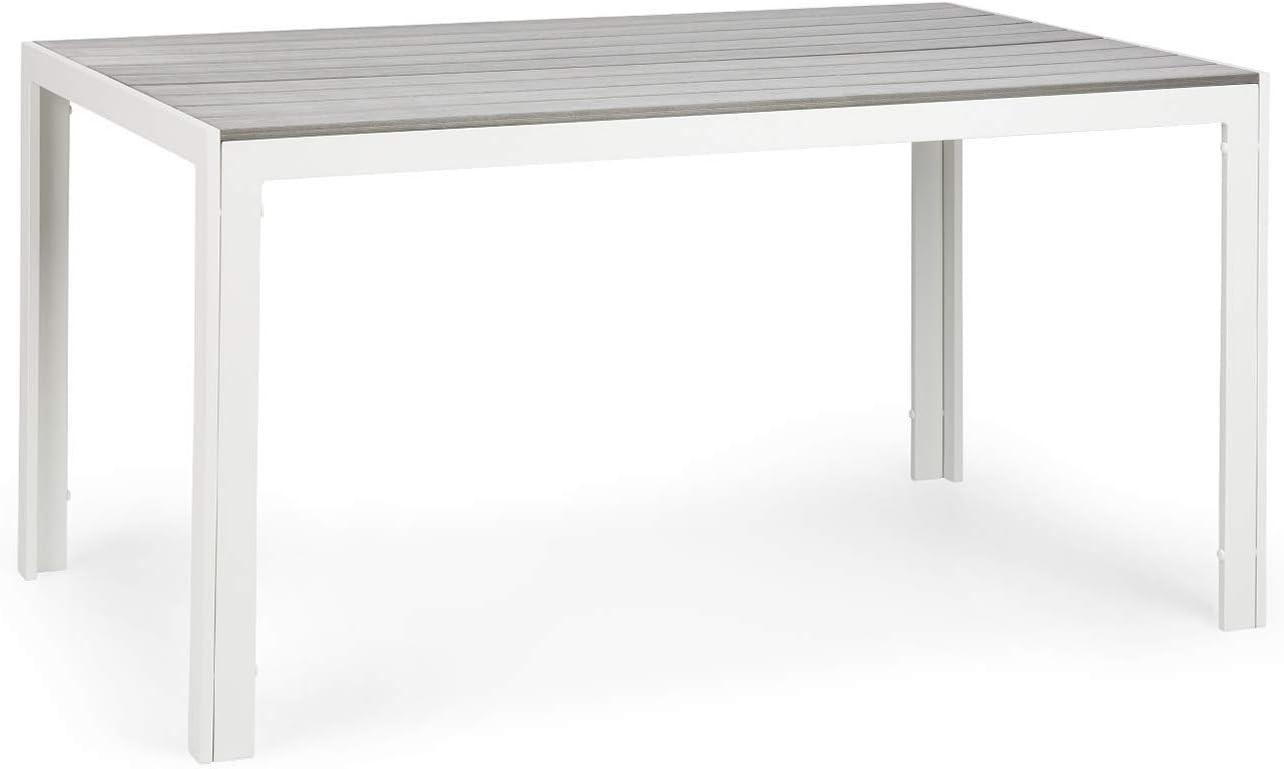 blumfeldt Bilbao White Edition - Mesa de jardín, 150 x 73 x 90 cm, hasta 6 Personas, Materiales polywood y Aluminio, Resiste al Aire Libre, Imitación de Madera, Ideal Exteriores, Blanco/Gris