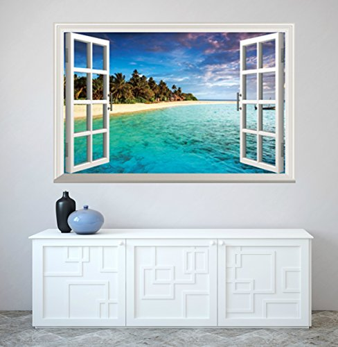 The Best Beach Sticker for Your Wall. Beach Themed Mural-Decor for any Bathroom, Kitchen, Kids Room or Living Room in Your Home. Real Looking Easy Peel and Stick Design. Rolled NOT Folded 90cm X 60cm.