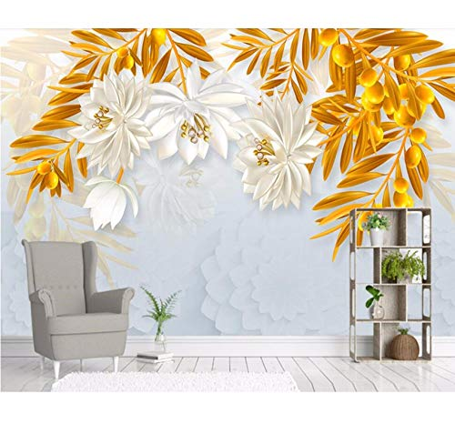 Weaeo 救援宝石の花ヨーロッパスタイルの3D壁紙のリビングルームのソファのテレビの壁のベッドルームのキッチンレストランのバー-250X175CM B07H3VN2JT 250X175CM 250X175CM