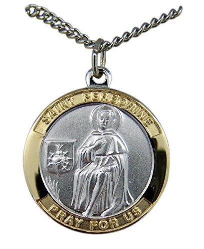 Catholic Patron Saint Pendants Gold and Sterling Silver Tu-Toned Saint St Peregrine Medal Pendant, 7/8 Inch