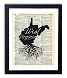 West Virginia Home Grown Upcycled Vintage Dictionary Art Print 8x10