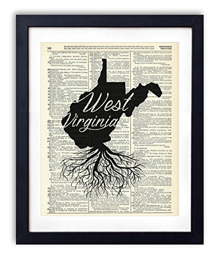 West Virginia Home Grown Upcycled Vintage Dictionary Art Print ()