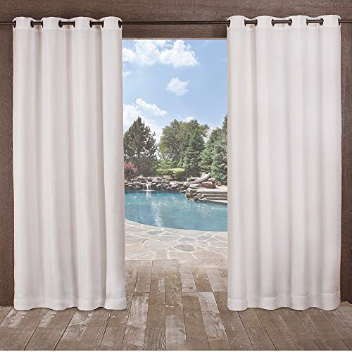 Exclusive Home Curtains Delano Heavyweight Textured Indoor/Outdoor Window Curtain Panel Pair with Grommet Top, 54x96, Winter White, 2 Piece