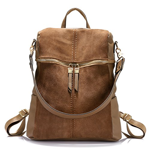 (Backpack Shoulder Bag Purse Girls School Bag Casual Nubuck +Synthetic Leather Collage Style Khaki)