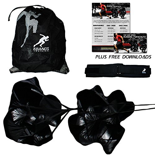 (Kbands Training Dual 54 Inch Wind Resistance Speed Parachutes   2 Durable Running Chutes To Increase Sprint Speed)