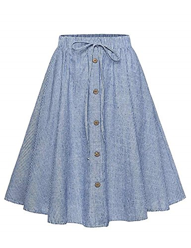 Allonly Women's A-Line High Waisted Button Front Drawstring Pleated Midi Skirt With Elastic Waist Knee Length A-line Elastic Waist Skirt