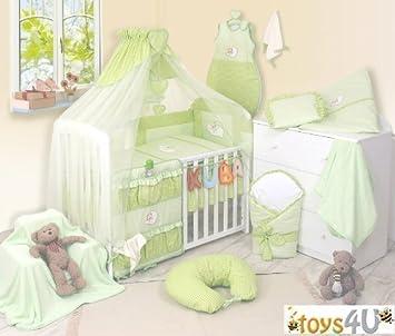8tlg Babybettwäsche Grün Schlafmütze Bär 135x100cm