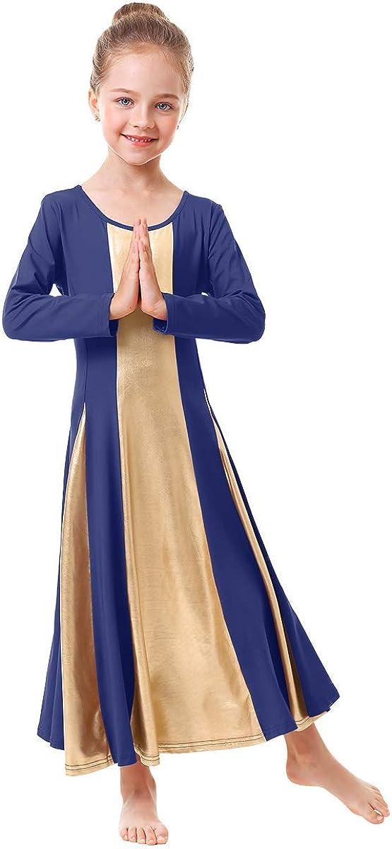 IBAKOM Little//Big Girls Metallic Gold Liturgical Praise Dance Dress Loose Fit Full Length Worship Tunic Circle Costume