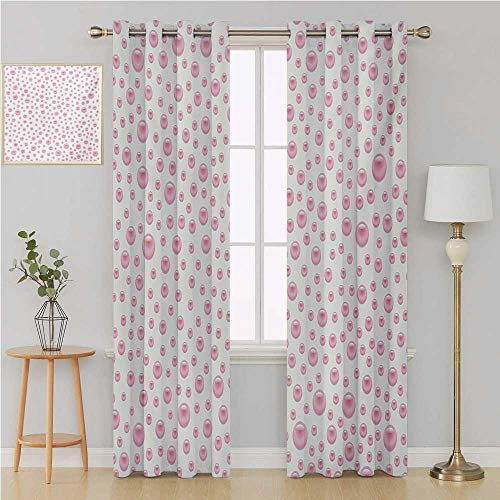 Benmo House Pearls grommit Curtain Door Curtain blackoutPattern with Large Small Baby Pink Color Pearls Precious Stones Nursery Bridal Printcurtains 84 by 84 InchPink White