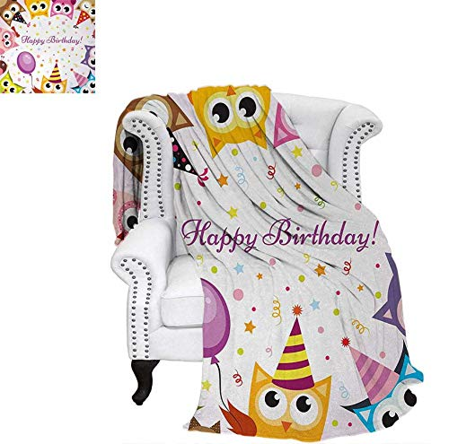 (Summer Quilt Comforter Birthday Party Owl Family with Colorful Cone Hats on Confetti Backdrop Art Digital Printing Blanket 80