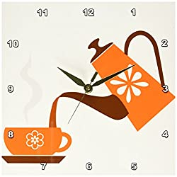 3dRose dpp_165478_1 Pouring Coffee in Orange Artwork-Wall Clock, 10 by 10-Inch