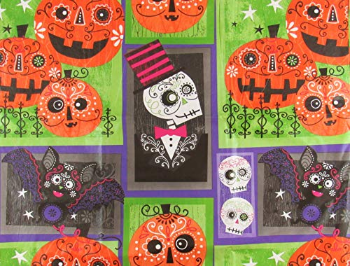 Spooky Halloween Doodles on Skeletons, Skulls, Bats and Jack-O-Lanterns Patchwork Vinyl Flannel Back Tablecloth (52