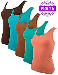 Women's 5 Pack Tank Tops In Assorted Colors …