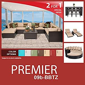 Premier 21 Piece Outdoor Wicker Patio Furniture Package PREMIER-09b-BBTZ