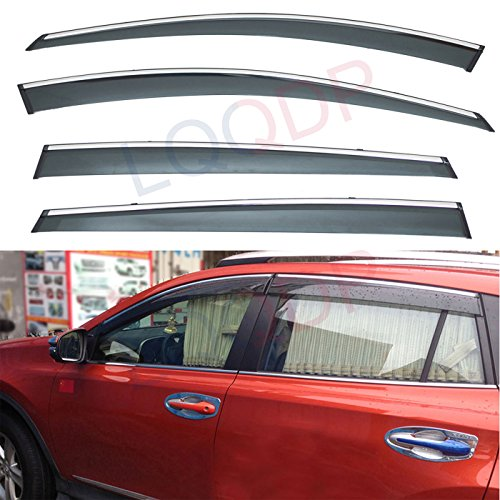 LQQDP 4pcs Smoke Tint With Chrome Trim Outside Mount Tape On/Clip On Style PVC Sun Rain Guard Vent Shade Window Visors Fit 13-18 Toyota RAV4 RAV-4