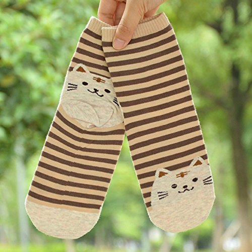 Women\'s No Show Socks Cotton Casual Invisible Socks Non Slip Flat Boat Shoe Liners (US Shoes Size:5-10, Cat Mix- 5 Pairs)