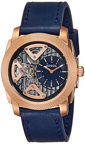 Fossil Men's ME1158 Machine Gold-Tone Stainless Steel Watch with Navy Blue Leather Band