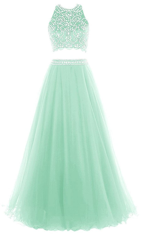 Olidress Women's Two Pieces Halter Beaded Long Evening Dress Prom Dress