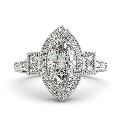 Marquise Cut Charles & Colvard Forever Brilliant Moissanite & Round Cut Diamond Engagement Ring Your choice of Solid 14k White Rose or Yellow Gold 2.40 tcw
