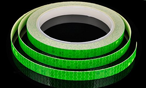 (AM Safety Reflective Warning Lighting Sticker Adhesive Tape Roll Strip. for Beautify Bicycle Bike Decoration (Green))