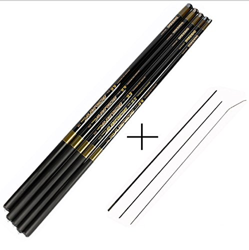NEW ARRIVAL! Carp Fishing Rod with Free Spare 3 Tips Carbon Fiber Fishing Pole Ultra-light 3.6-7.2M Hand Telescopic Fishing Rod (Black, 6.3 m)
