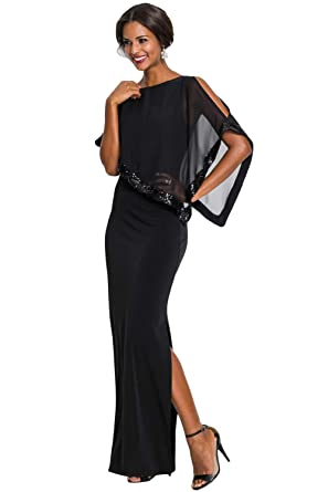 a0ed2826c50 Betty-Boutique Women s Black Sequin Mesh Overlay Poncho Party Dress ...