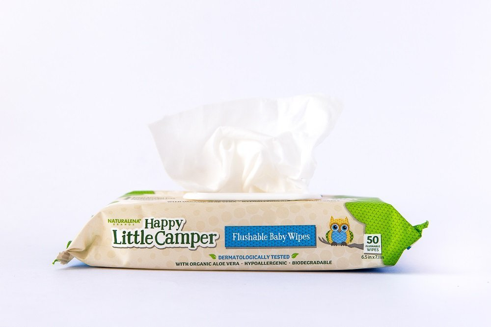Happy Little Camper Flushable Toddler Wipes with Organic Aloe Septic Safe 50 Count
