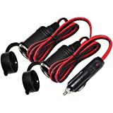 KUNCAN 4FT 12 Volt 2 Socket Splitter Cigarette Lighter, Male Plug to Dual Female Socket, Car Cigarette Power Charge Extension Cable, Fuse 15A