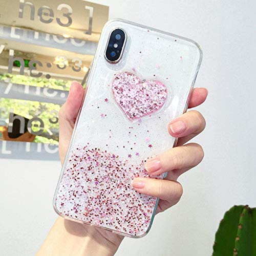 (Shiny Pink Silver Glitter Heart Case for iPhone 6S 6 7 8 Plus Transparent TPU Gel Case for iPhone X Xs Max XR XS Soft Back Cover- LENALE)