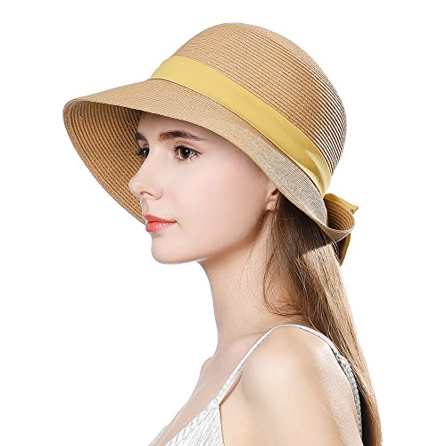 Cloche Brimmed (Womens Straw Sunhat Fedora Summer Wide Brimmed Beach Accessories Foldable Cloche Derby Tan)