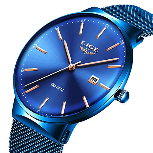 LIGE Mens Watches Fashion Sports Waterproof Stainless Steel Mesh Wrist Watches Bussiness Dress with Date Full Blue Analog Quartz Watch Man ...