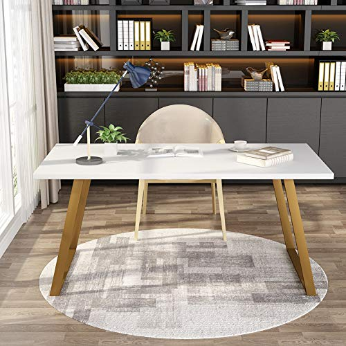 Tribesigns 55'' White Writing Desk, Minimalist Computer Desk with Slanted Gold Metal Frame, Simple Style Study Laptop Table for Home Office (White+Glod) by Tribesigns (Image #1)