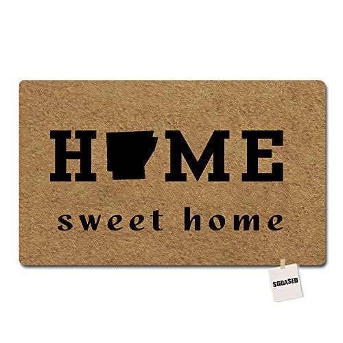 SGBASED Door Mat Home Doormat Arkansas Home Sweet Mat Washable Floor Entrance Outdoor & Indoor Rug Doormat Non-woven Fabric (23.6 X 15.7 inches) ()