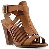 Marco Republic Normandy Peep Toe Stacked Heels Sandals Pumps - (Tan) - 7