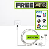 Mohu Leaf Glide HDTV Antenna, Indoor, Amplified, 65 Mile Range, Paper-thin, Reversible, Paintable, 4K-Ready, 16 Foot Detachable Cable, Premium Materials for Performance, USA Made