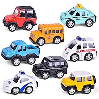 FUN LITTLE TOYS 8 PCs Pull Back Cars Toys for Kids,1:48 Metal Die-cast Friction Power Cars for Boys, Car Party Favors for Boys, Goodie Bags Fillers, Pinata Fillers, Toy Cars for 2,3,4 Year Old Boys