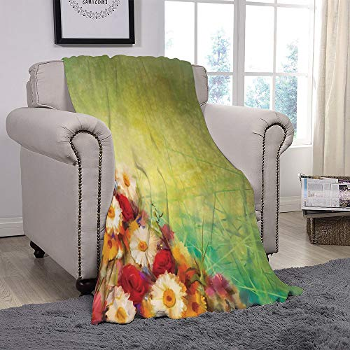 SCOCICI Super Soft Throw Blanket/Watercolor Flower Home Decor,Romantic Bouquet Rose Chamomile Grunge Pastoral Scene Print,Yellow White/for Couch Bed Sofa for Adults Teen Girls Boys