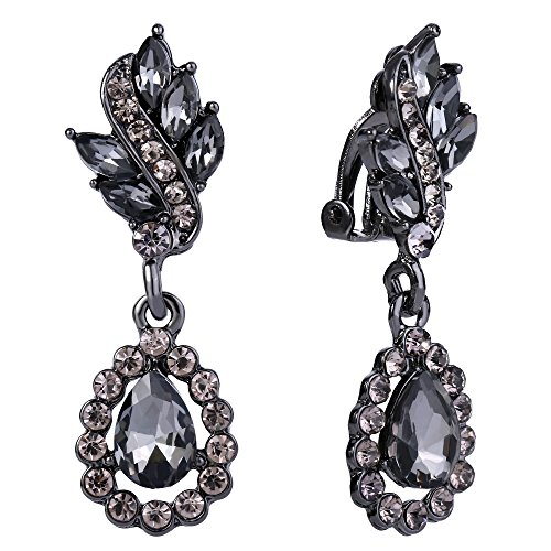 EleQueen Women's Austrian Crystal Art Deco Tear Drop Dangle Earrings Clip-on Black-tone Black