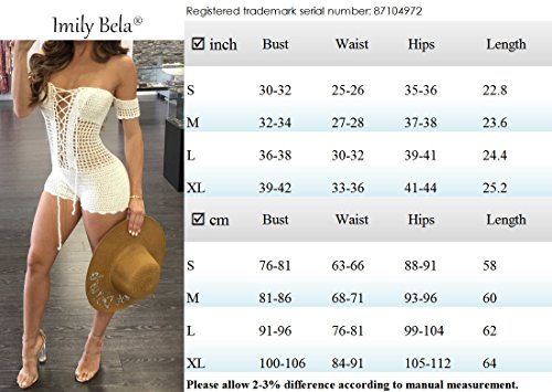90dc511506 Imily Bela Women's Sexy Bikini Off Shoulder Lace up Mesh Knit Crochet  Swimsuit Cover up Swimwear