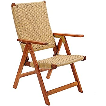 Bon Achla Designs Eucalyptus Wood Indoor Outdoor Polyweave Folding Chair