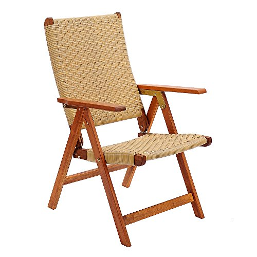 Achla Designs Eucalyptus Wood Indoor Outdoor Polyweave Folding Chair