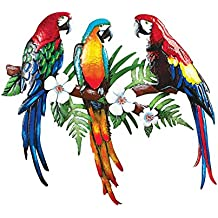 Collections Etc Tropical Parrot Hand-Painted Trio Wall Décor