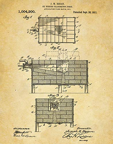 Blacksmithing Forge Wall Art Print - one (11x14) Unframed - wall art decor for blacksmiths