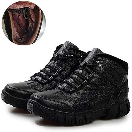 新しいメンズスノーブーツノンスリップカジュアルアンクルブーツは黒着用革の温かみのレースアップ屋外の古典的な作業靴人工 (色 : 黒, サイズ : 25.5 CM)