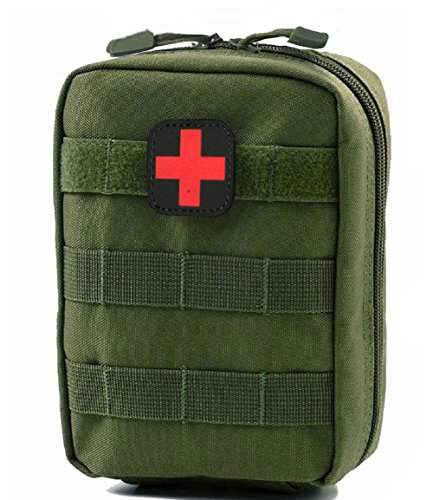 Green First Aid - Terrernce MOLLE EMT IFAK Pouch, Tactical Medical First Aid Bag, Compact Utility Emergency Kit (Green)