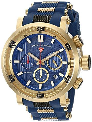 Swiss Legend Men's 'Dragonet' Swiss Quartz Stainless Steel Casual Watch (Model: 13838SM-YG-03-BLS)