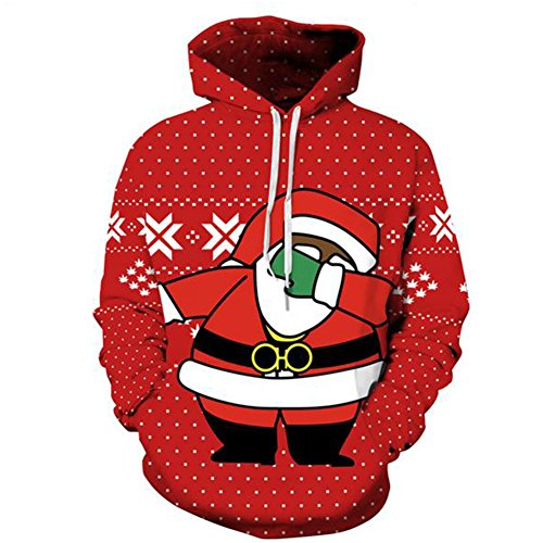 SgaSong Women's 3D Santa Claus Digital Printing Couple Casual Pullover Hoodies Sweatshirt - Times Delivery Australia Ups