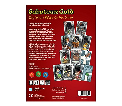 Saboteur Gold - A Unique Ltd Edition Board Game Featuring Both ...
