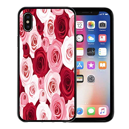 - Semtomn Phone Case for Apple iPhone Xs case,Colorful Pattern Red and Pink Roses Flower Maroon Floral Color Bouquet for iPhone X Case,Rubber Border Protective Case,Black